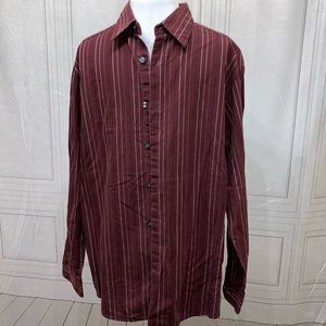 Axcess by Claiborne Company Striped Button L